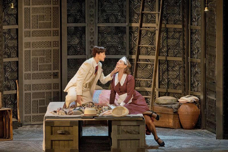 """Isabel Leonard as Cherubino and Marlis Petersen as Susanna in Mozart's """"Le Nozze di Figaro."""" Richard Eyre's production of the opera, conducted by James Levine, opened the Met season on Sept 22, 2014"""