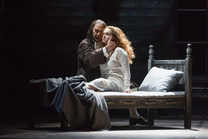 """David Pittsinger as Reverend John Hale and Mary Beth Nelson as Betty Parris in The Glimmerglass Festival's production of Robert Ward's """"The Crucible."""""""