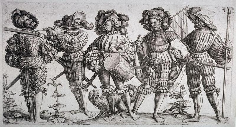 Landsknechtes, mercenaries of 15th and 16th century Europe. German Landsknechtes helped the French defeat the Swiss at the Battle of Marignano, the subject of a battle piece by Janequin.