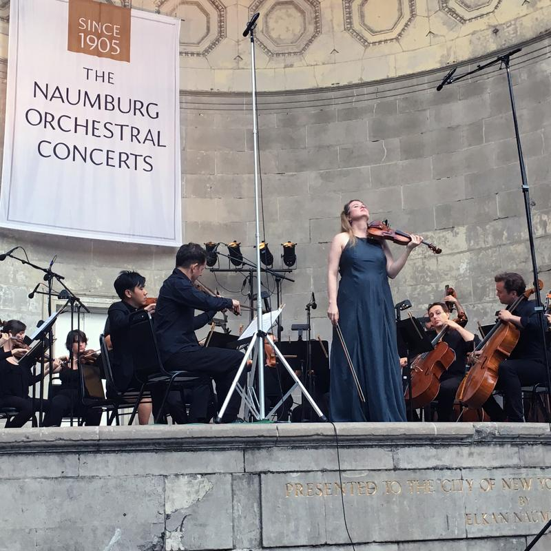 Violinist Lara St. John and Ensemble LPR at the Naumburg Bandshell in Central Park.