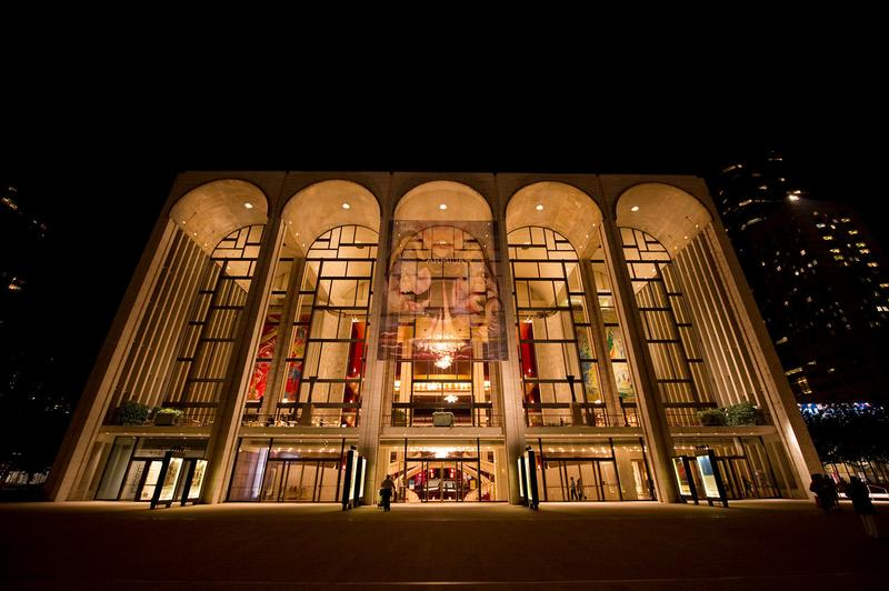 The Metropolitan Opera House, exterior at night.