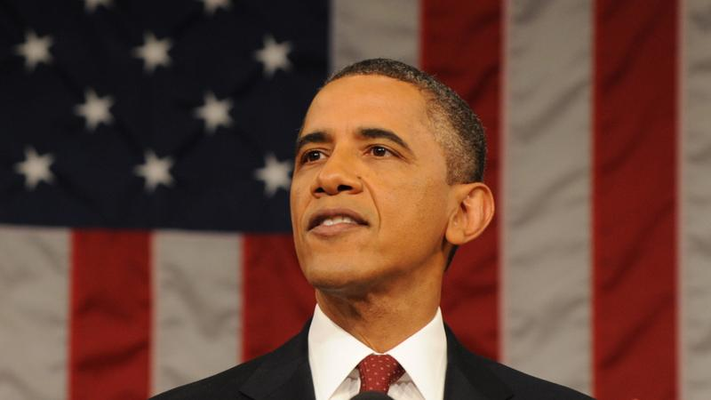 US President Barack Obama delivering the 2012 State of the Union address.