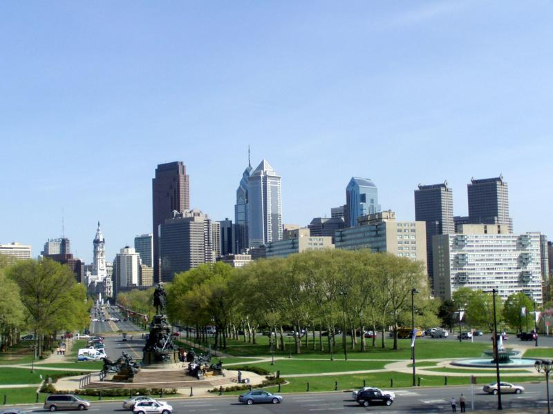 Philadelphia skyline, as seen from the Philadelphia Museum of Art