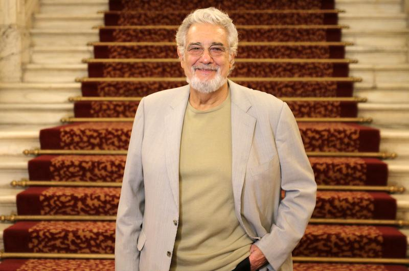 Placido Domingo poses at the Liceu Theater in Barcelona.