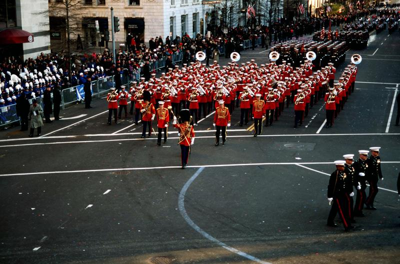 The U.S. Marine Band marching down 15th Street during a parade held in honor of President Bill Clinton on Jan. 20, 1997.