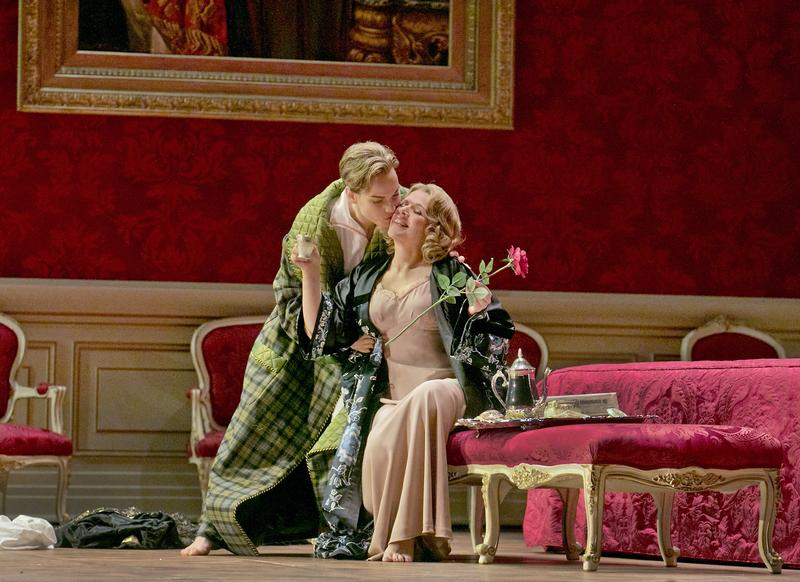 "Elīna Garanča as Octavian and Renée Fleming as the Marschallin in Strauss' ""Der Rosenkavalier."""