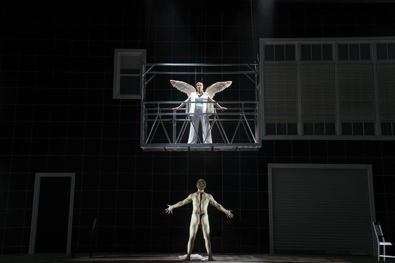 """New York City Opera production of """"Angels in America"""" with Kirsten Chambers as The Angel and Andrew Garland as Prior Walter."""