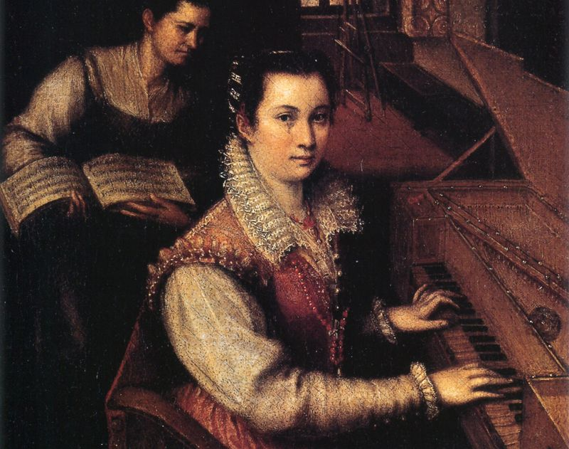Self portrait of Italian Renaissance painter Lavinia Fontana, at the clavichord.