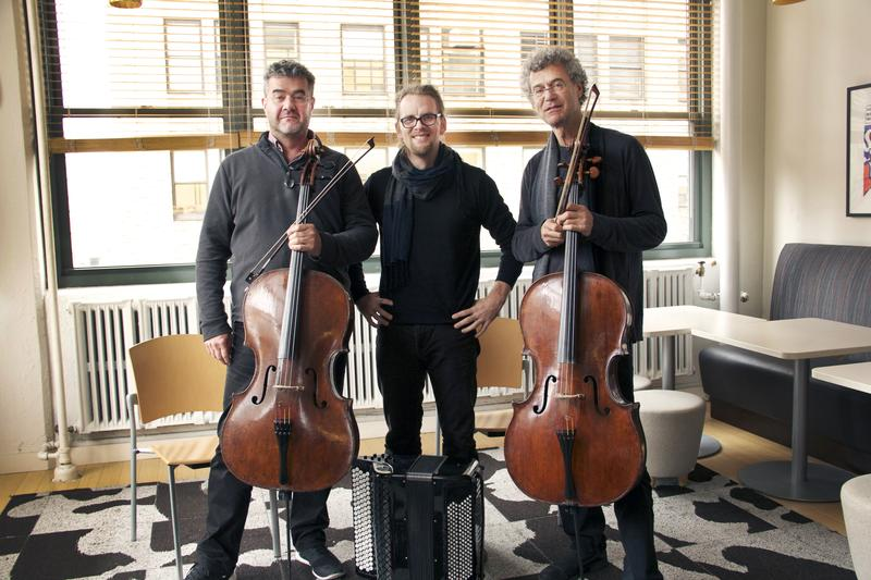 Thomas and Patrick Demenga, cellists; and Luka Juhart, accordion, in the WQXR Café.