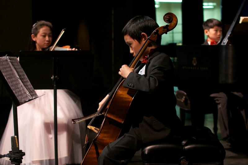 The Brioso Trio featuring Hannah Ryu, violin, age 11 from Lexington, Massachusetts, Evan Hsu, cello, age 12 from Chestnut Hill, Massachusetts, and Andrew Li, piano, age 13 from Lexington, Massachusett