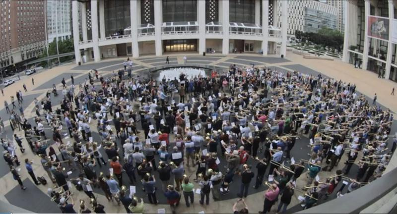 Hundreds of trombone players gathered at Lincoln Center on June 8, 2016.
