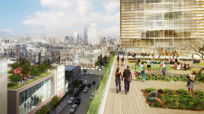 Renderings Of Rooftop Urban Garden By Shop Architects For The Essex Crossing Development On The Lower