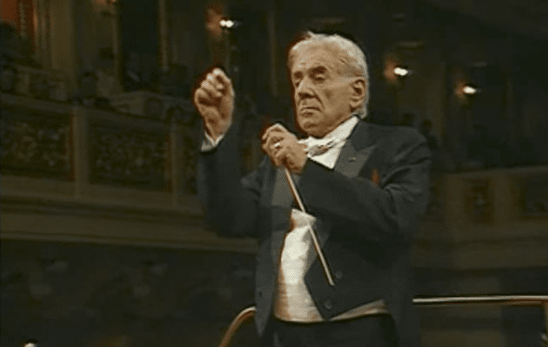 Bernstein conducts Beethoven's 9th Symphony at the Berlin Celebration Concert.