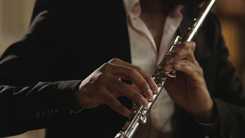 Brandon Patrick George plays the Verne Q. Powell No. 365, a platinum flute, which sold for $187,000 in 1987.