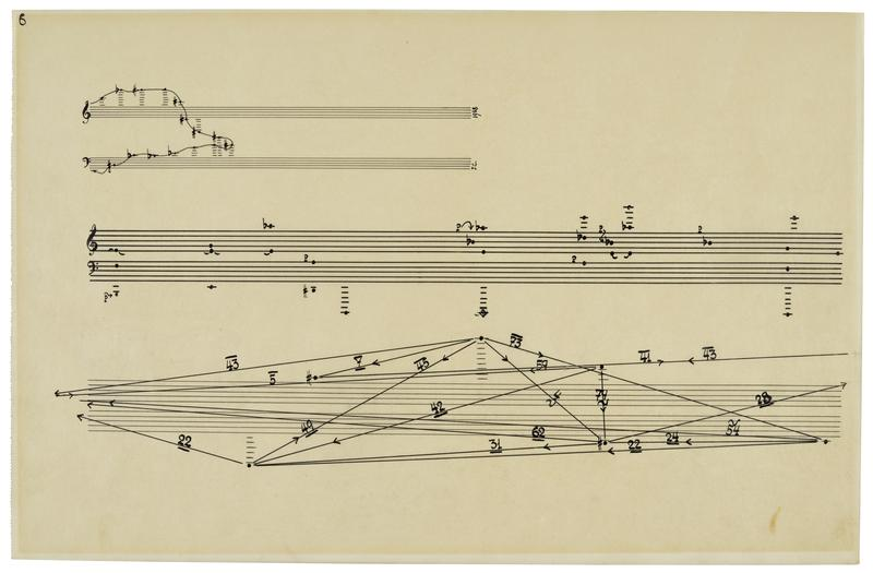 """""""Autograph Musical Manuscript Initialed (""""J.C.""""), ink on translucent paper 430 x 278 mm, n.p., [after 1958], being page 6 from the piano part of Concert for Piano and Orchestra, particularly fine."""""""