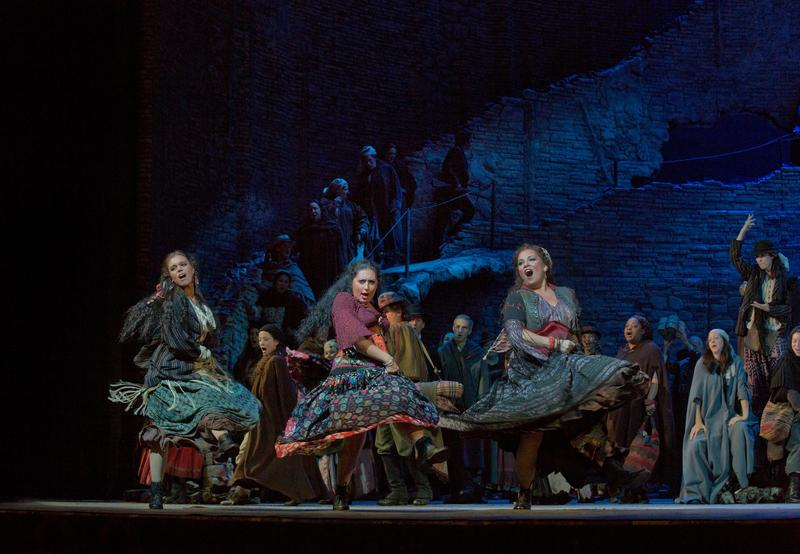 Anita Rachvelishvili (center) as the title character in Bizet's 'Carmen' at the Metropolitan Opera.