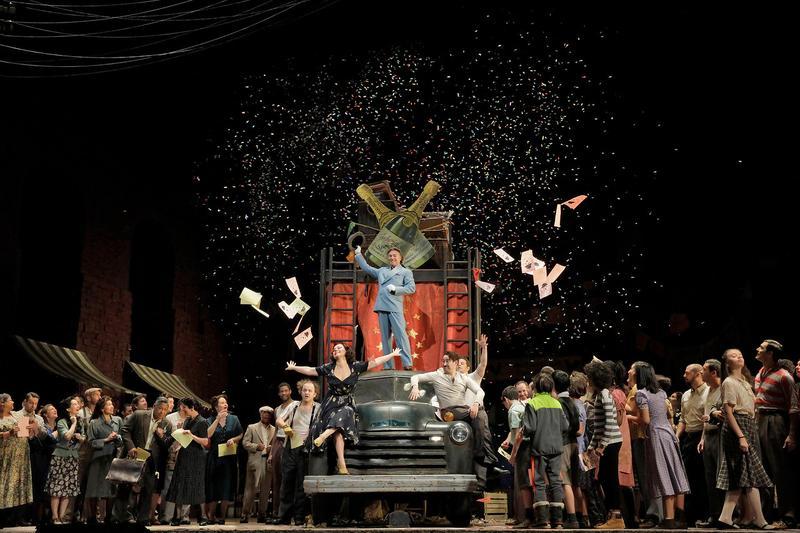 "A scene from Leoncavallo's ""Pagliacci."" Photo by Ken Howard/Metropolitan Opera."