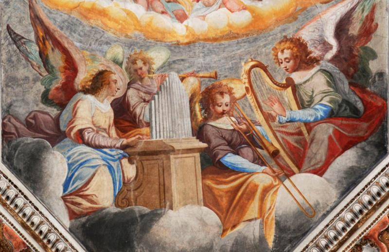 A celestial band featuring a trombone like instrument, by an Anonymous Artist