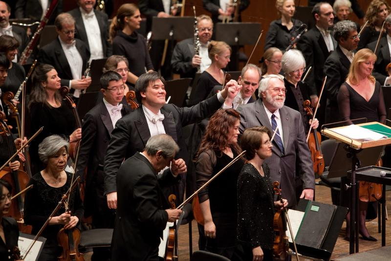 New York Philharmonic Music Director Alan Gilbert and MarieJosée Kravis Composer-in-Residence Christopher Rouse.