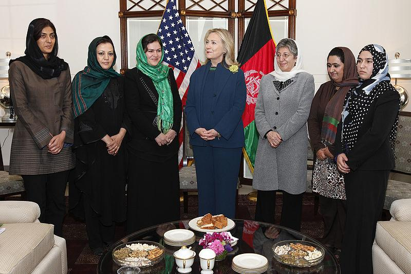 U.S. Secretary of State Hillary Rodham Clinton with female Afghan politicians in Kabul, Afghanistan