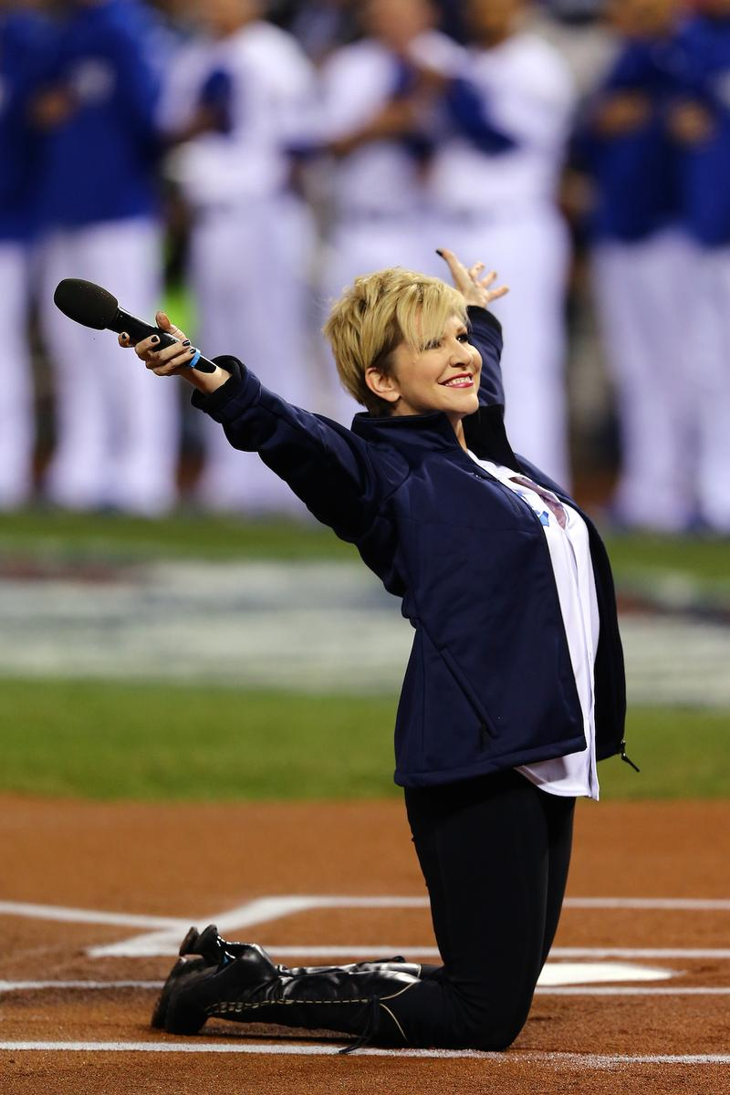 Joyce DiDonato performs the National Anthem before Game 7 of the 2014 World Series on October 29, 2014