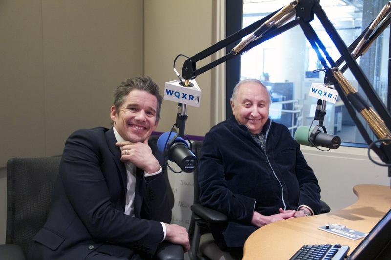 Actor-director Ethan Hawke and piano teacher Seymour Bernstein in the WQXR studio.