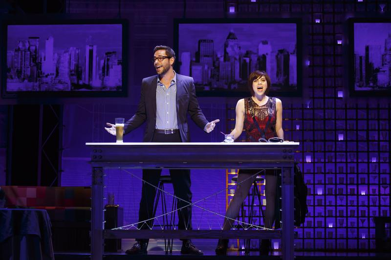 Zachary Levi and Krysta Rodriguez in <em>First Date</em> at the Longacre Theatre.