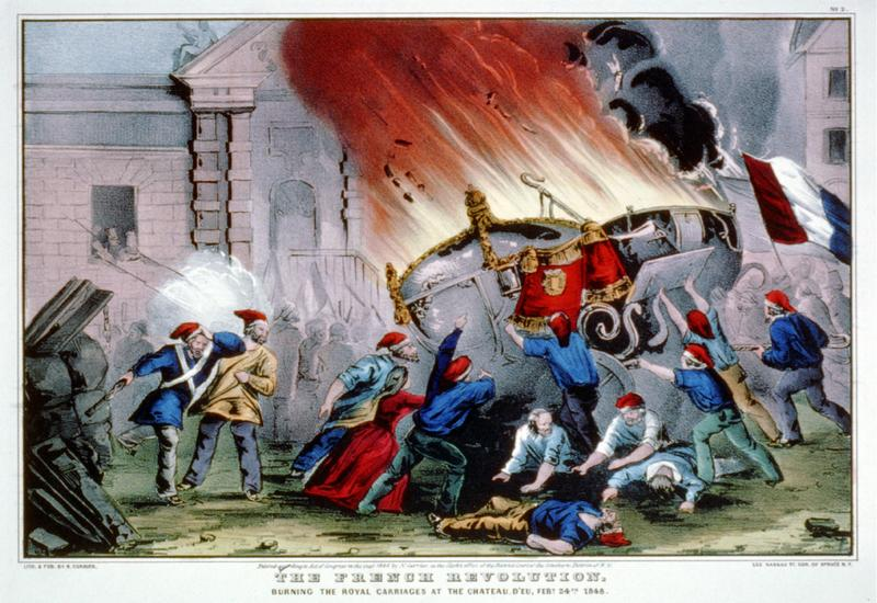 The French revolution: burning the royal carriages at the Chateau d'Eu, Feby. 24, 1848