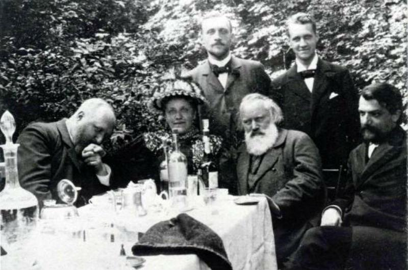Johannes Brahms drank while he composed, and he drank while he hiked. Here he is with friends and family enjoying his spirits.