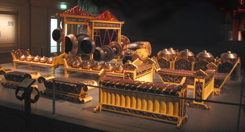 A Javanese gamelan set from the Asian Civilisations Museum, Empress Place, Singapore.