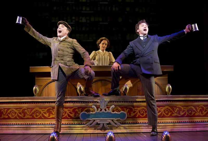 Jefferson Mays as Henry D'Ysquith (left to right), Jennifer Smith, and Bryce Pinkham as Monty Navarro in a scene from 'A Gentleman's Guide to Love and Murder' at the Walter Kerr Theater.