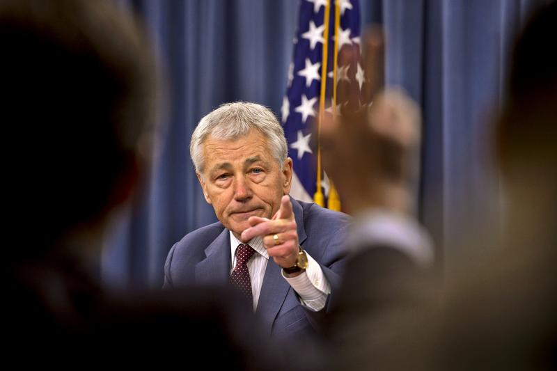 Defense Secretary Hagel answers questions at a Pentagon briefing in March.