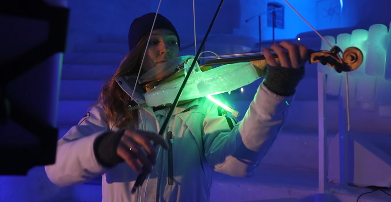 A violinist playing one of Tim Linhart's ICEstruments.