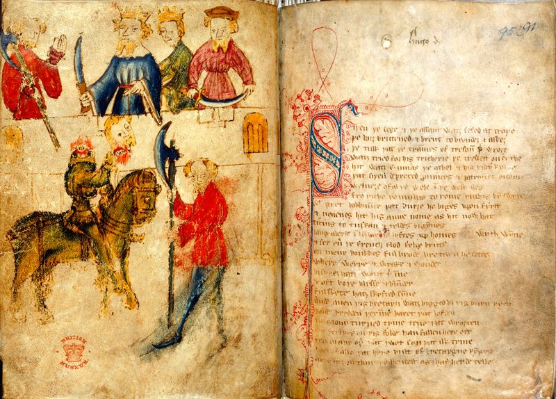 Sir Gawain and the Green Knight, Late 14th Century Manuscript, British Museum