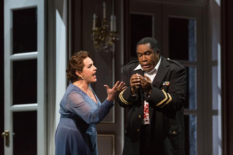 "Melody Moore as Lady Macbeth and Eric Owens as Macbeth in The Glimmerglass Festival's 2015 production of ""Macbeth."""