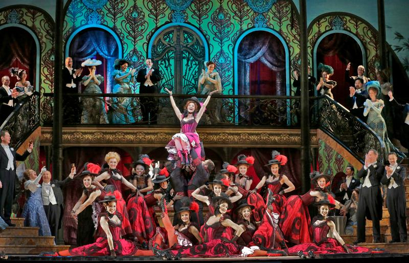 Kelli O'Hara as Valencienne with the Grisettes in Lehár's 'The Merry Widow.'