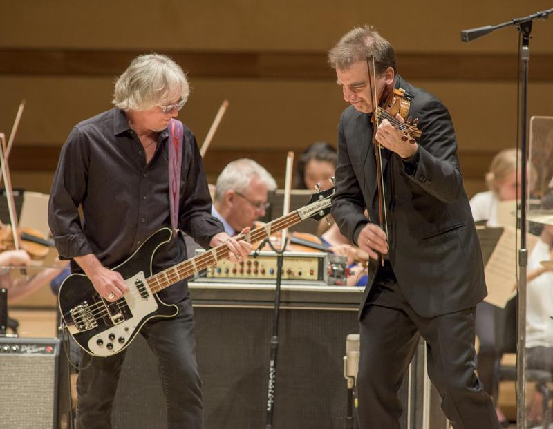 R.E.M.'s bassist Mike Mills with violinist Robert McDuffie