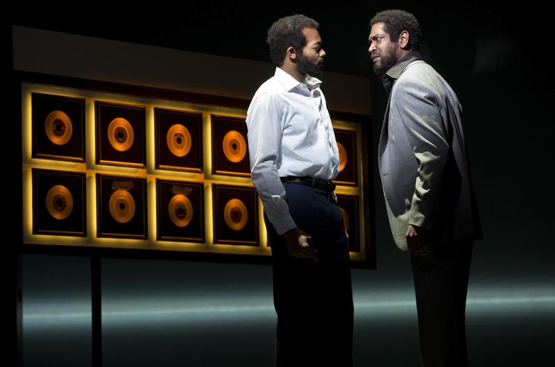 Brandon Victor Dixon as Berry Gordy and Bryan Terrell Clark as Marvin Gaye in 'Motown: The Musical.'