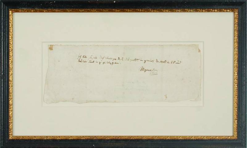 A letter written by Mozart to a close friend asking for the return three music scores