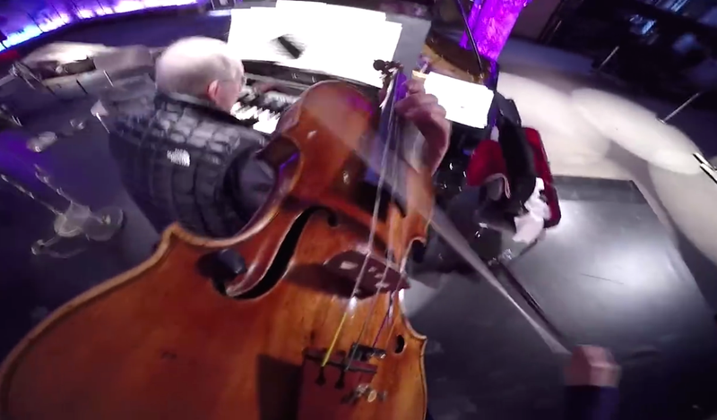 Anne-Sophie Mutter plays with a GoPro camera on her head