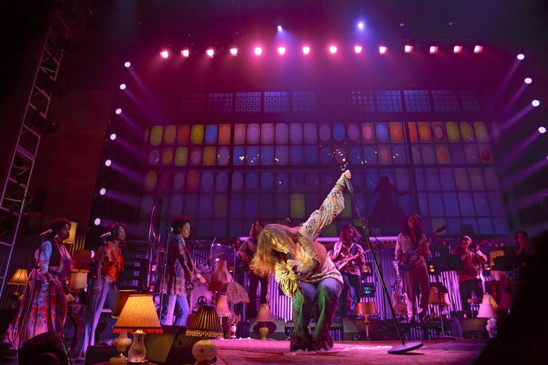Mary Bridget Davies and cast in <em>A Night With Janis Joplin</em> at the Lyceum Theatre.