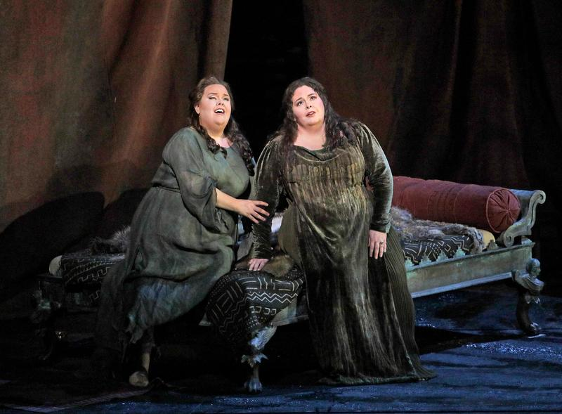 "Jamie Barton as Adalgisa and Angela Meade in the title role of Bellini's ""Norma."""