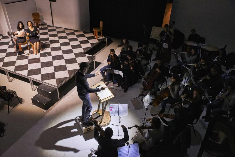 The LoftOpera orchestra performing during Rossini's 'Otello'