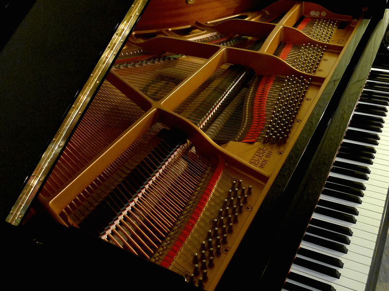 The interior of a baby grand piano.
