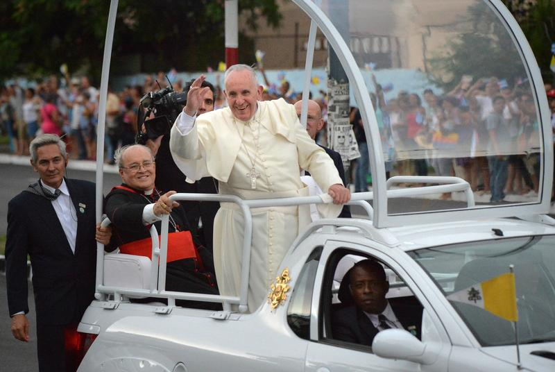 Image result for pope francis and popemobile