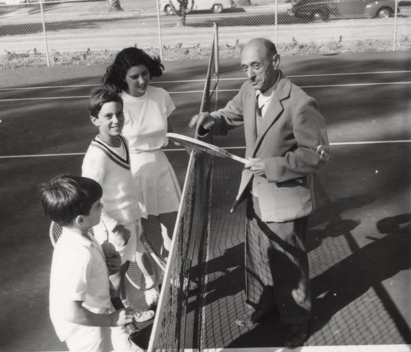 Schoenberg pictured with his family on the tennis court.