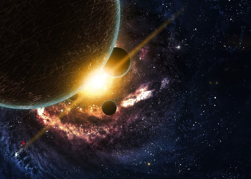 Artist's rendering of planets over the nebulae in space.