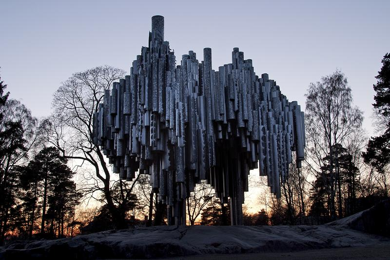 The Sibelius Monument in Helsinki honors the best-known Finnish Composer.