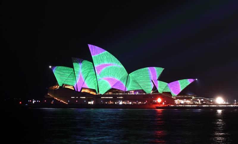 A light show called 'Vivid' changes the appearance of the Sydney Opera House in Sydney on May 22, 2015.