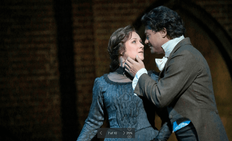 "Diana Damrau as Olympia and Vittorio Grigolo as the title character in Offenbach's ""Tales of Hoffman"""
